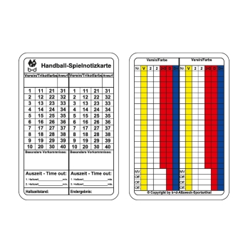 Handball Spiel-Notizkarten - match record cards, handball - Cartes de note de jeu de handball