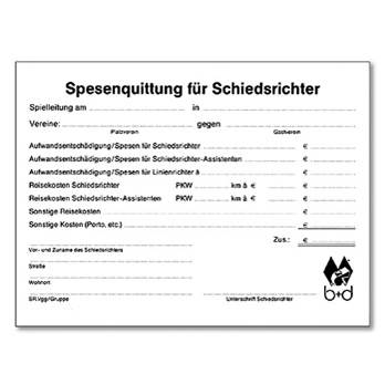 Schiedsrichter Spesenquittungsblock  -  receipt pad in German language