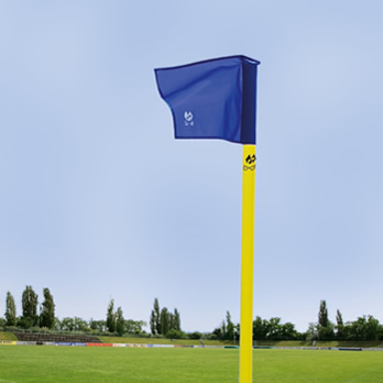 Eckstange gelb/50mm, blau - corner pole yellow/50 mm, flag cloth blue