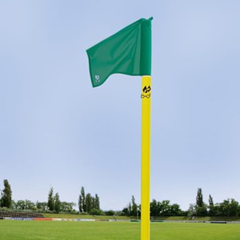 Eckstange gelb/50mm, grün - corner pole yellow/50 mm, flag cloth green