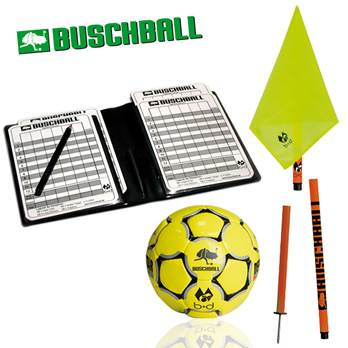 Buschball Deluxe-Set 2go neon-rote Stange / gelbe Fahne